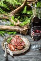 Red meat tastes best with wine photo