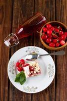 Top view on table with lemonade and cherry cake