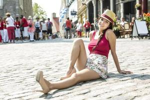 Young happy teenage girl in urban place photo