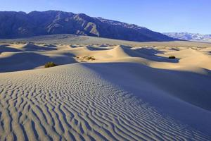 Sand dunes and mountains in desert landscape
