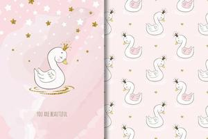 Beautiful princess swan bird  vector