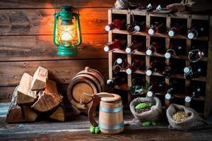 Homemade beer storeroom in the cellar photo