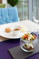 Cutlets, potato mash and vegetable salad