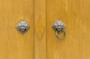 Ancient door knocker, Door knob handle lion head photo