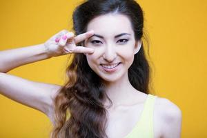 Fashion asian young  girl. Portrait on yellow background