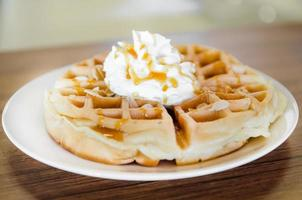 waffles under the caramel topping