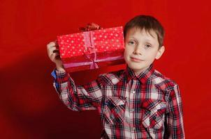 Little boy with a gift box photo