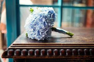 Beautiful wedding bouquet in blue tones photo