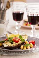 Winter salad with baked eggplant photo