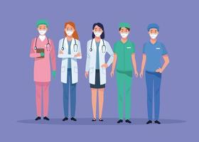 Group of healthcare workers characters vector