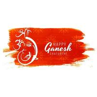 Ganesh Chaturthi Festival Card on Red Paint Stroke Background