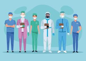 Medical staff healthcare workers characters vector