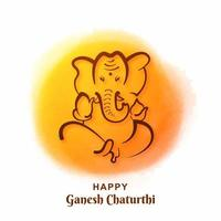 Ganesh Chaturthi Festival Card on Yellow Paint Circle Background