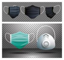 Collection of medical masks  vector