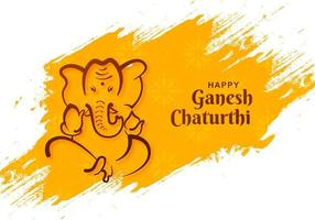 Lord Ganesh Chaturthi Indian Festival on Yellow Paint Strokes