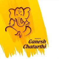 Lord Ganesh Chaturthi Indian Festival on Paint Brush Stroke