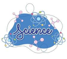 Science cursive lettering and laboratory icons banner template