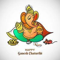 Line Drawing Lord Ganesha Ganesh Chaturthi Indian Festival Card vector