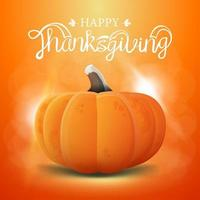 Happy Thanksgiving greeting card with pumpkin