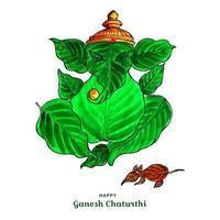señor ganesha y la imagen de la hoja del ratón para el fondo de la tarjeta ganesh chaturthi vector