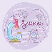 Science and microbiology with microscope and atoms molecules