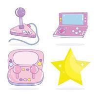 Conjunto de consolas electrónicas de videojuegos y una estrella.