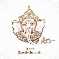 Line Drawing Ganesh Chaturthi Face in Sketch Art Design