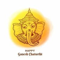 Happy Ganesh Chaturthi Yellow Pain Circle Sketch Card