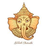 Tan Lord Ganesha Head Happy Ganesh Chaturthi Sketch Card vector