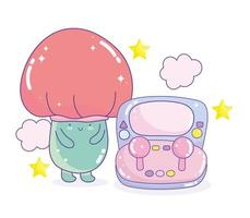 Kawaii fungus and video game console