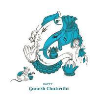 White, Blue Ganesh Chaturthi Indian Festival Card Background vector