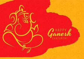 Happy Ganesh Chaturthi Utsav Festival on Red Splotch Background