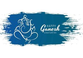 Happy Ganesh Chaturthi Utsav Festival on Blue Paint Strokes