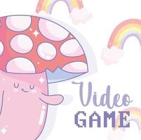 Mushroom character with video game lettering and rainbows vector