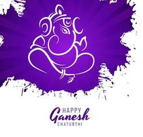 Ganesh Chaturthi Festival Wishes Card Purple Paint Background