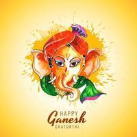tarjeta de deseos del festival ganesh chaturthi de acuarela colorida