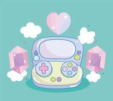 gamepad de videojuego con gemas y corazón