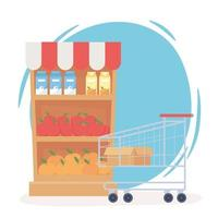 Stocked shelves and empty shopping cart vector