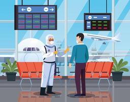 Trabajador de bioseguridad comprobando la temperatura en el aeropuerto por coronavirus vector