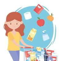 Woman with shopping cart full of products