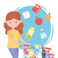 mujer con carrito de compras lleno de productos