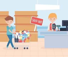 Customer paying for groceries vector