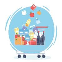 Shopping cart filled with groceries and cleaning products vector