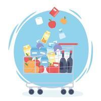 carrinho de compras cheio de mantimentos e produtos de limpeza vetor