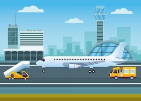 Airport with control tower and airplane vector