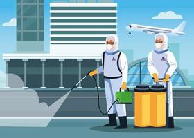 Biosafety workers disinfect airport  vector