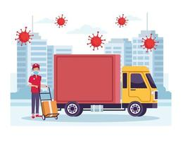 Courier with truck delivery service with coronavirus particles vector