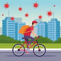 Courier in a bicycle in delivery service with COVID 19 particles vector