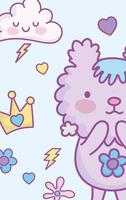 cartão de personagem animal kawaii ou modelo de banner