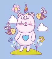 Kawaii little animal character with flying bees vector